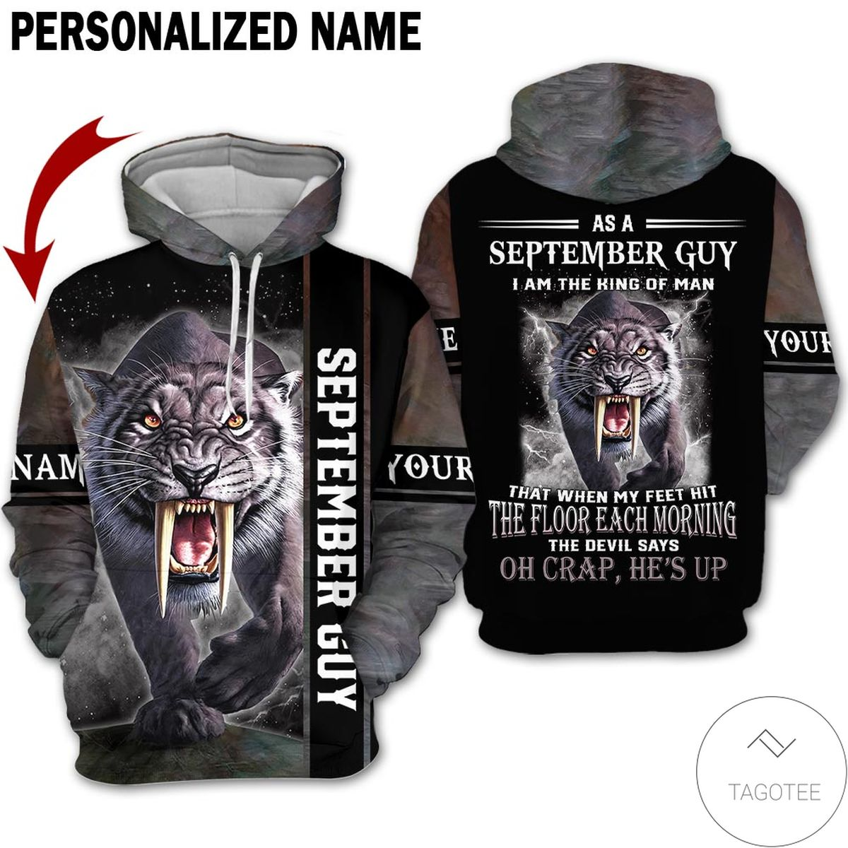 Personalized Tiger September Guy The Devil Says Oh Craps He's Up 3d Hoodie