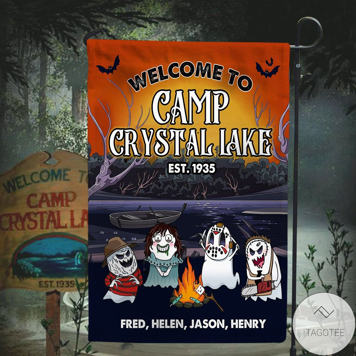Fantastic Personalized Welcome To Camp Crystal Lake Flag
