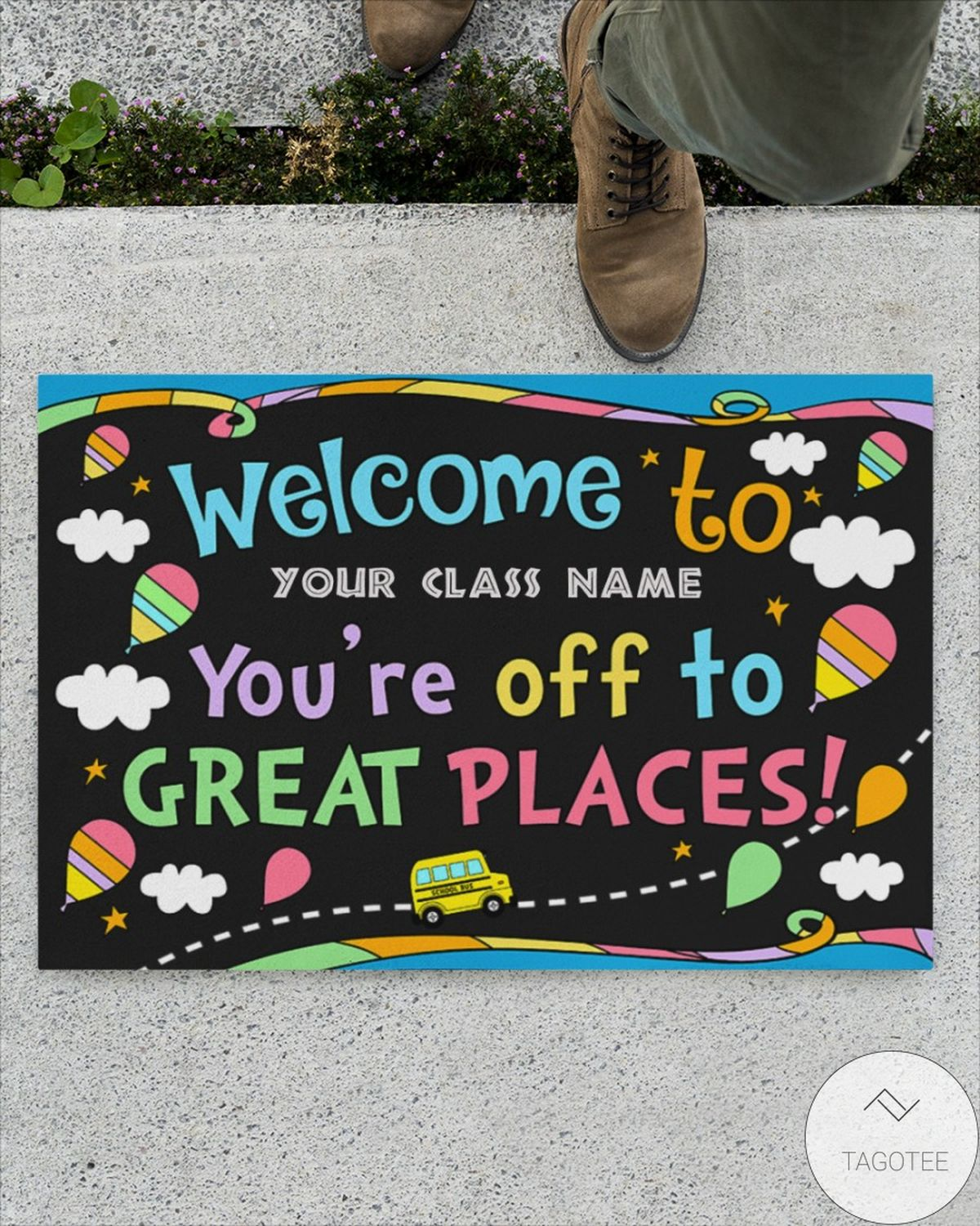 Beautiful Personalized You're Off To Great Places Back To School Doormat
