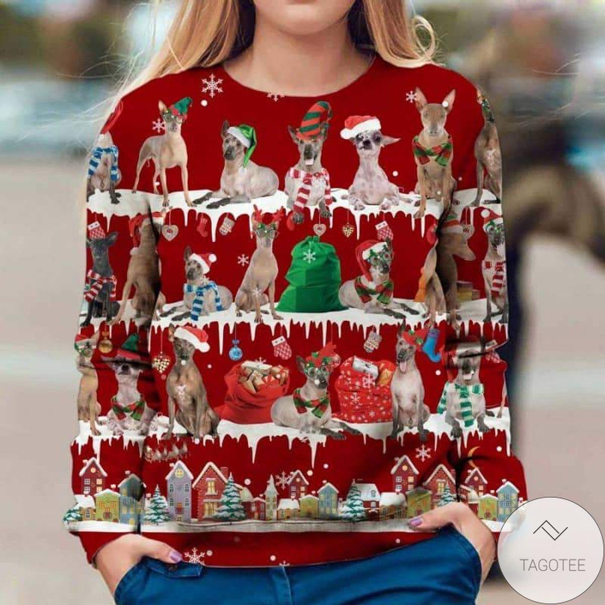 Peruvian Hairless Dog Snow Christmas Red Sweatshirt
