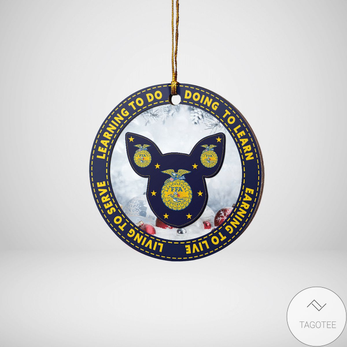 Great Quality Pig Learning To Do Doing To Learn Ffa Logo Ornament