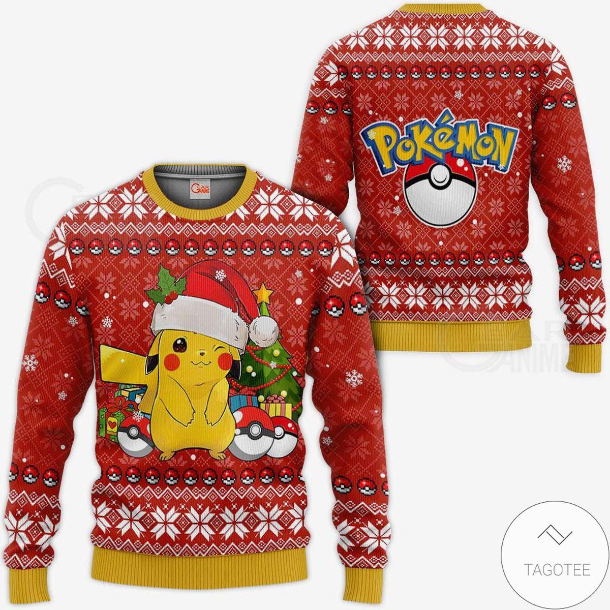 Pikachu Santa Anime Ugly Christmas Sweater