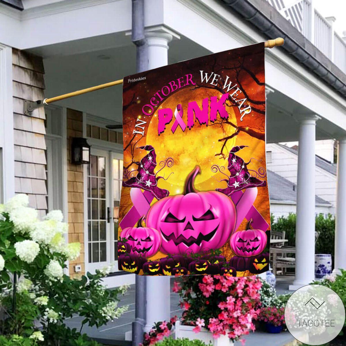 Pink Pumpkin Breast Cancer Awareness Halloween Flag