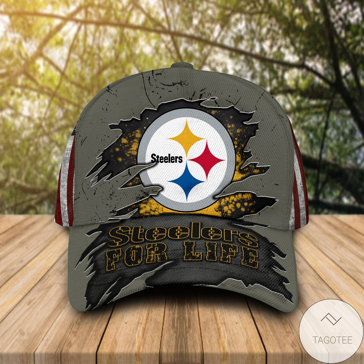 All Over Print Pittsburgh Steelers For Life Cap