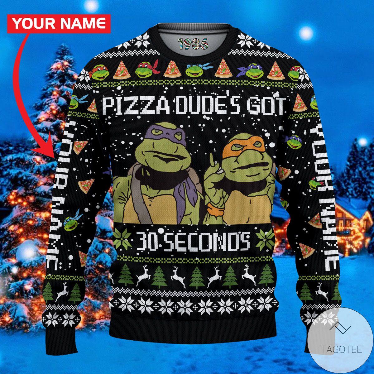 Pizza Dude's Got 30 Seconds Teenage Mutant Ninja Turtles Ugly Christmas Sweater