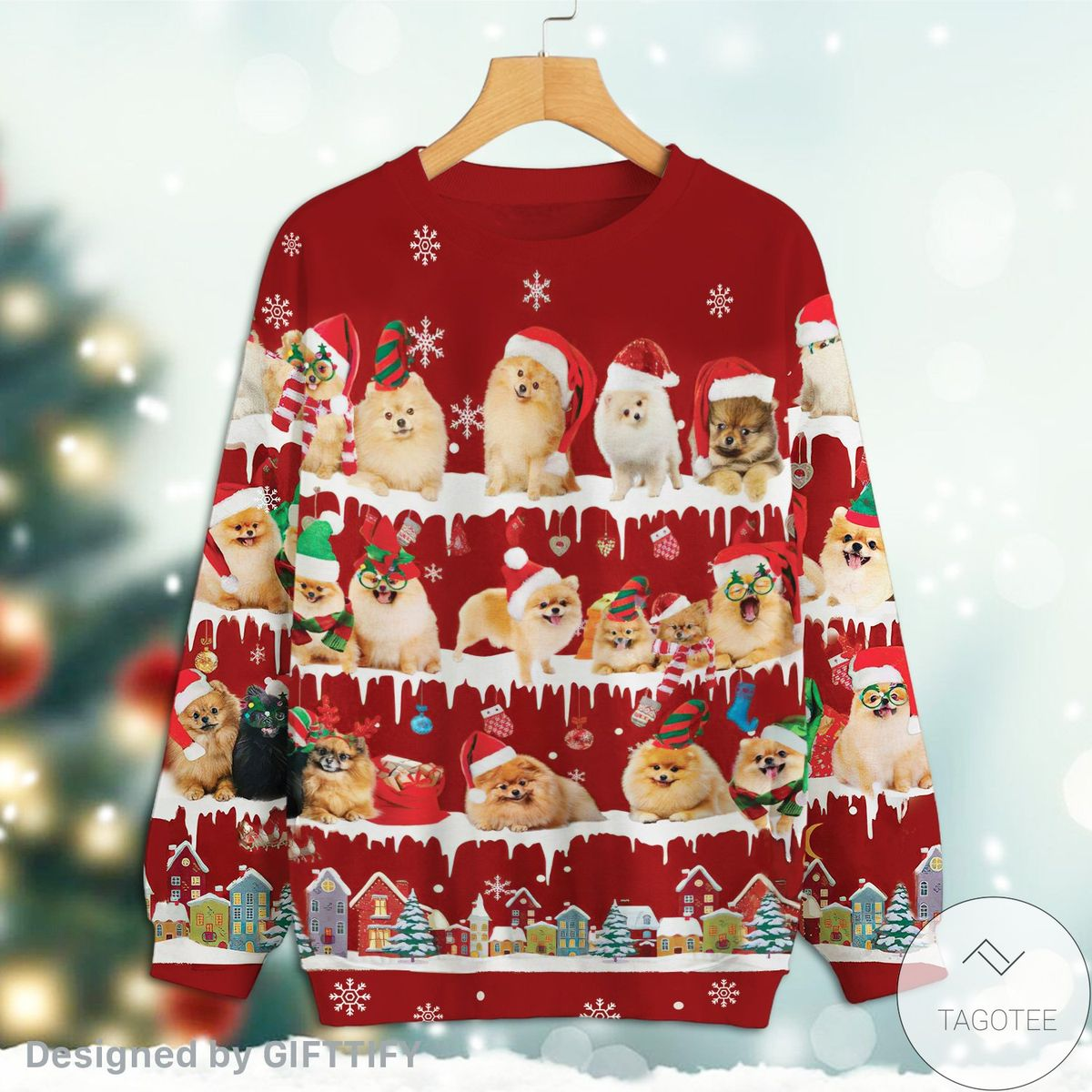 Pomeranian Snow Christmas Premium Sweatshirt