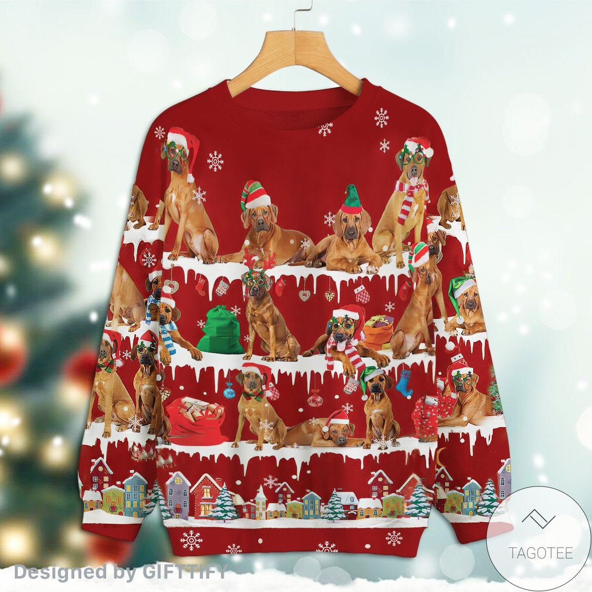 Rhodesian Ridgeback Snow Christmas Premium Sweatshirt