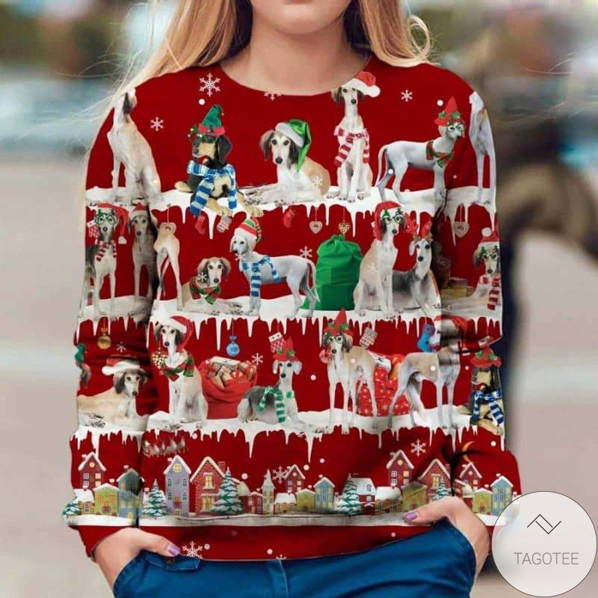 Saluki Snow Christmas Red Sweatshirt