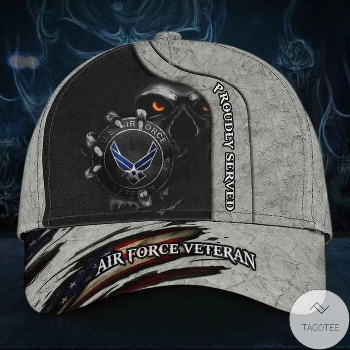 Skull Air Force Veteran Proudly Served Cap Unique USA Flag Hat Honor Veteran USAF Retired