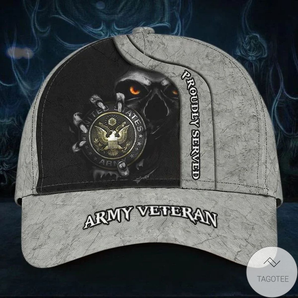 Skull Army Veteran Proudly Served Cap Patriotic Honor Retired Army Veteran Hat Unique Gift