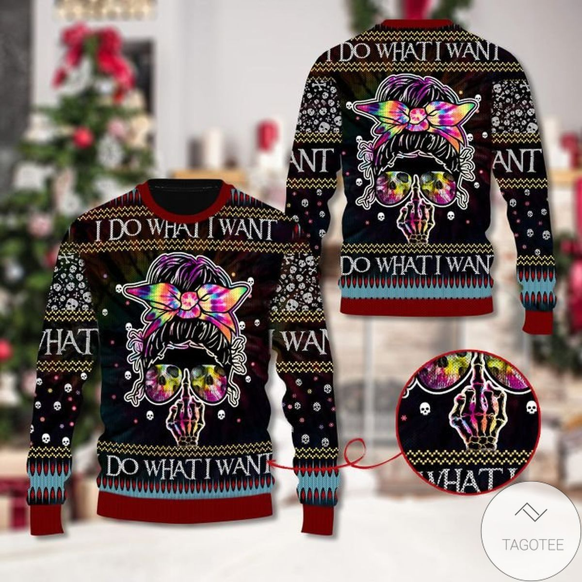 Skull I Do What I Want Ugly Christmas Sweater