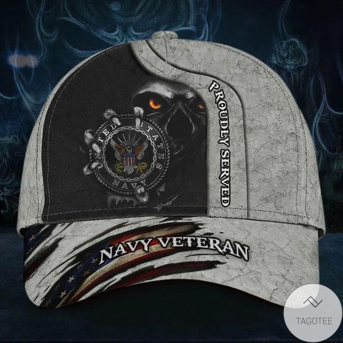 Skull Navy Veteran Proudly Served Hat Unique American Flag Cap Honor Navy Veteran Gifts