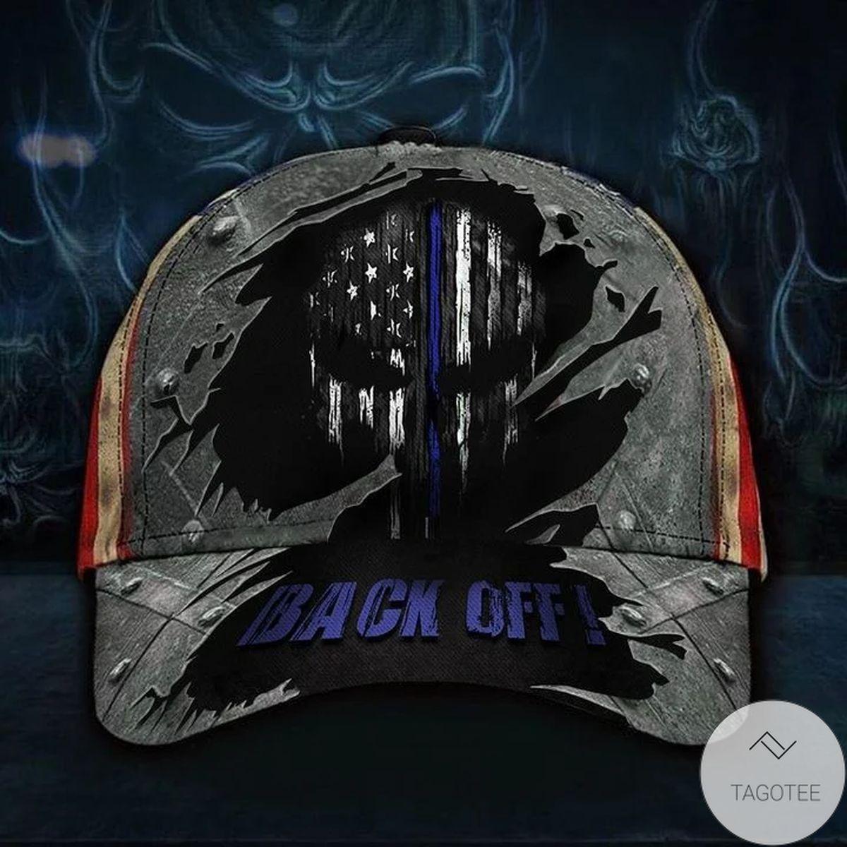 Us Store Skull Thin Blue Line Back Off Hat Vintage USA Flag Cap Back The Blue Honor Law Enforcement