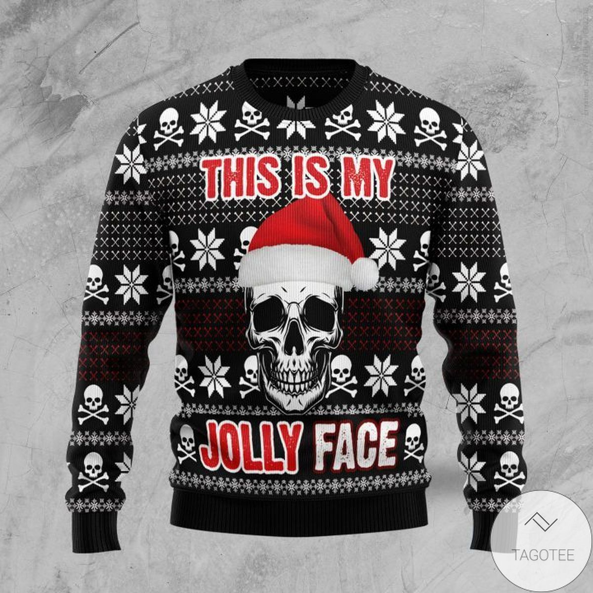 Skull This Is My Jolly Face Ugly Christmas Sweater