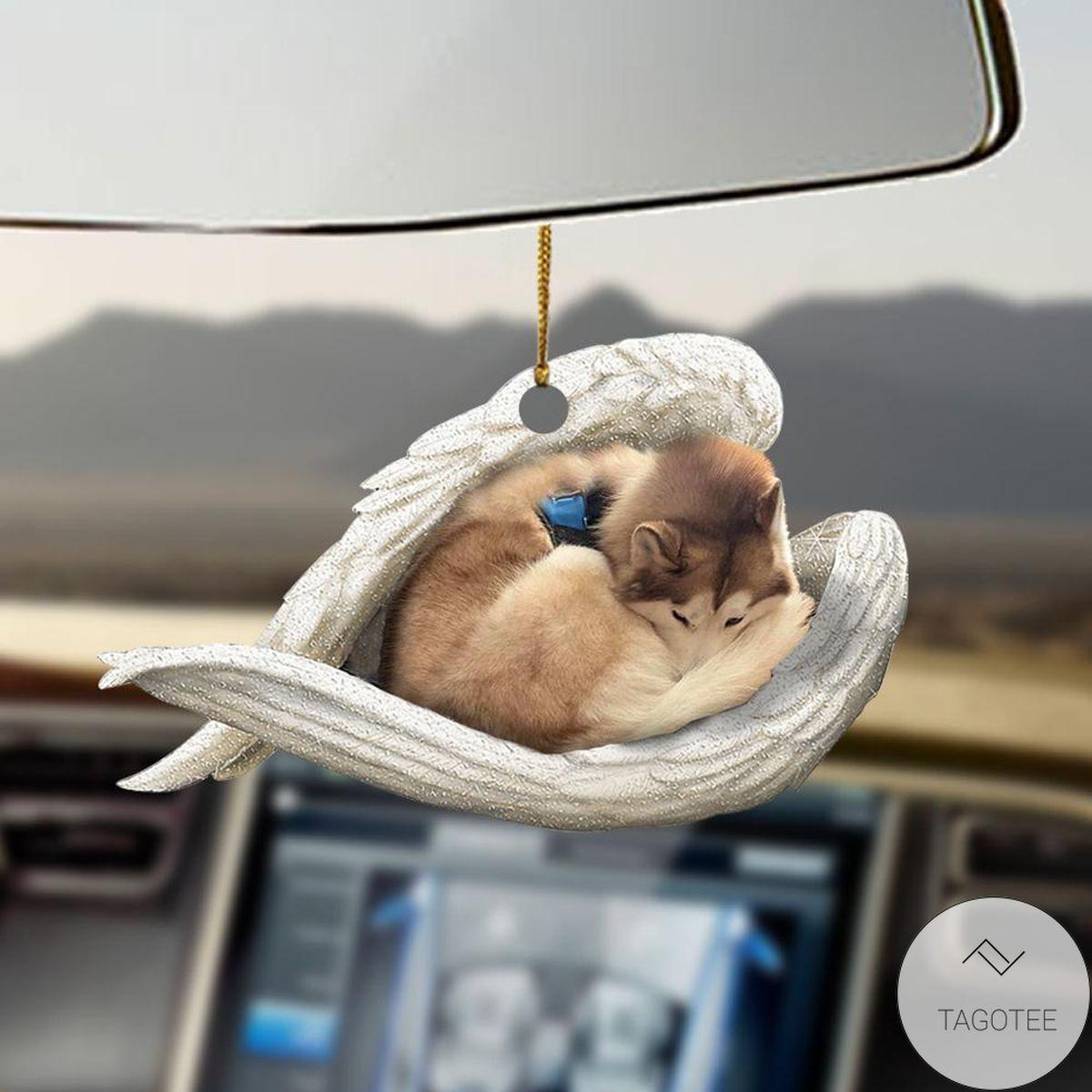 Tan And White Husky Sleeping Angel Car Hanging Sleeping Angel Ornament