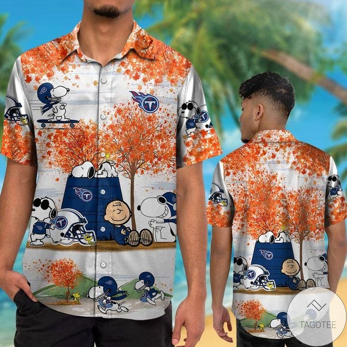 Unisex Tennessee Titans Snoopy Autumn Hawaiian Shirt
