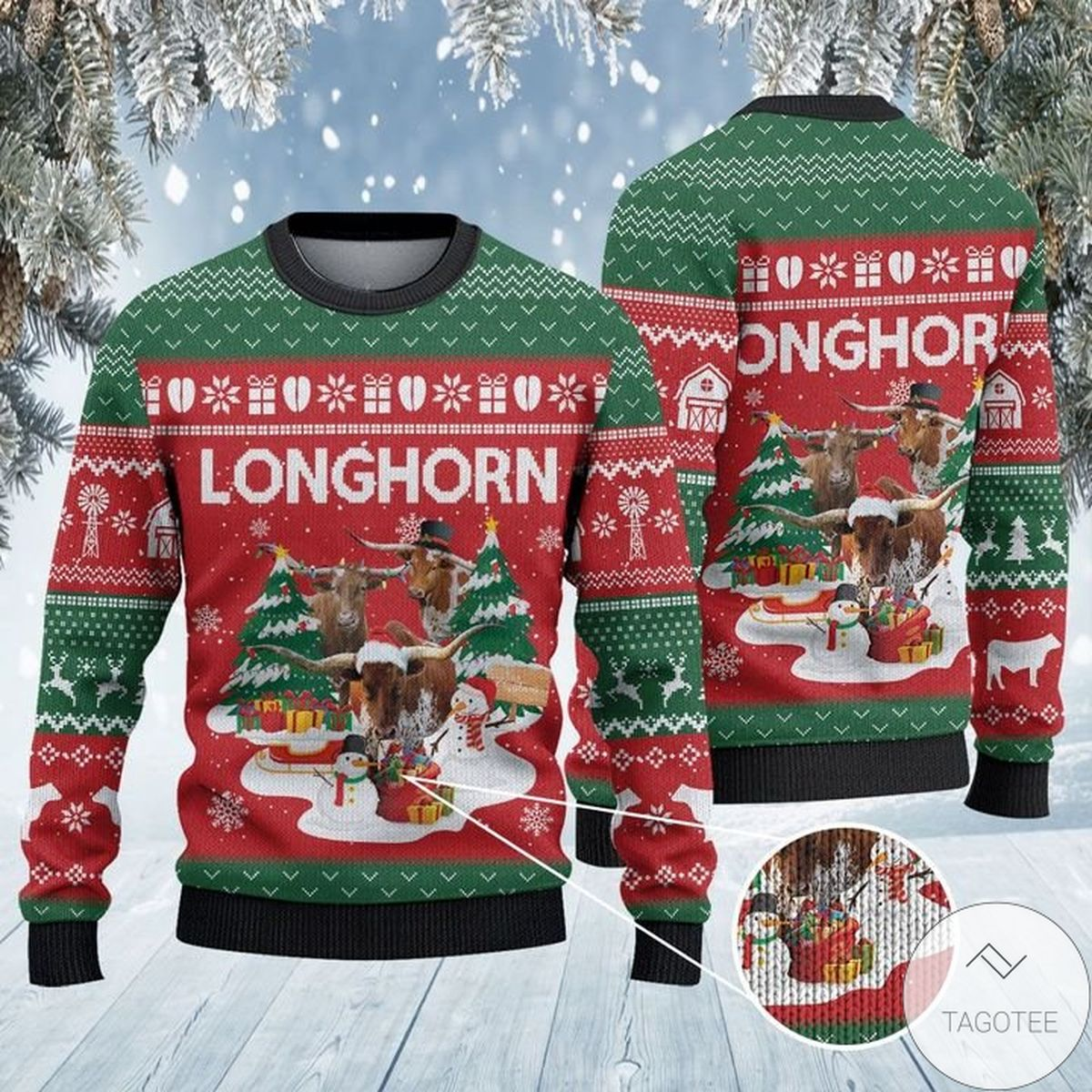 Texas Longhorn Cattle Lovers Christmas Tree Ugly Christmas Sweater