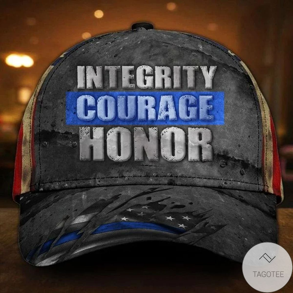 Thin Blue Line Integrity Courage Honor Hat American Flag Cap Vintage Police Gift Ideas