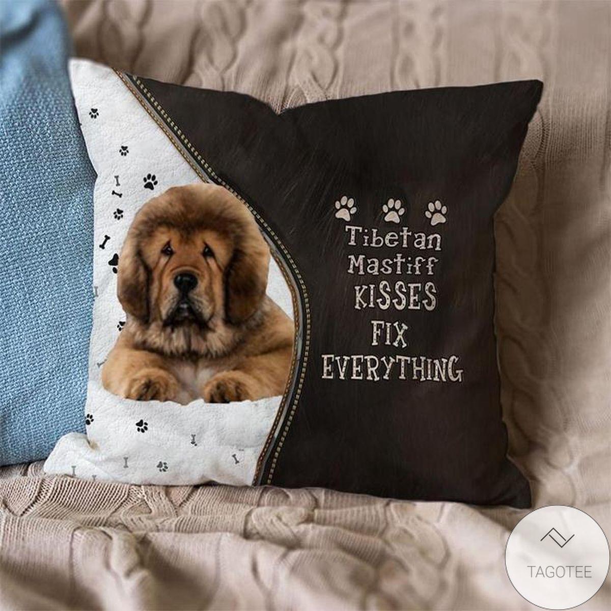 Free Tibetan-Mastiff Kisses Fix Everything Pillowcase