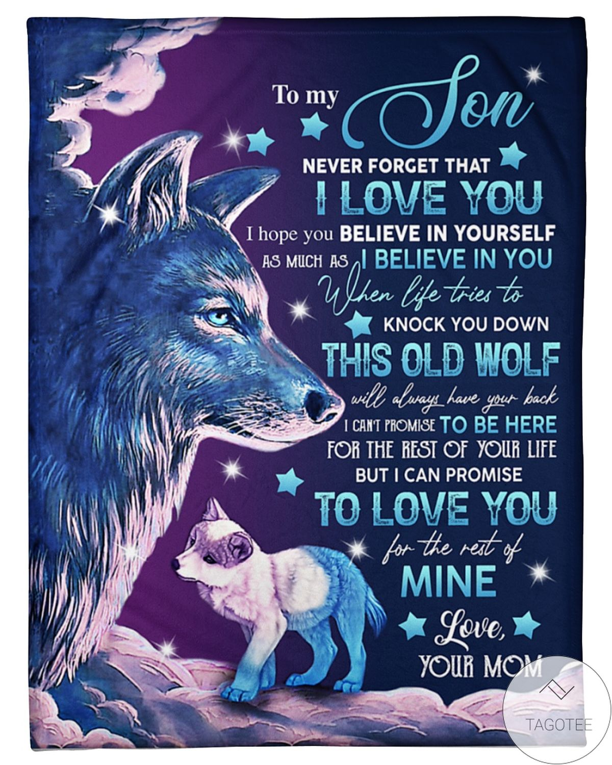 Free Ship To My Son  Never Forget I Love You Wolf Blanket