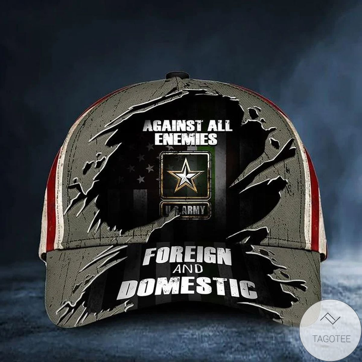 US Army Hat Against All Enemies Foreign And Domestic Green Line USA Flag Army Gift For Him