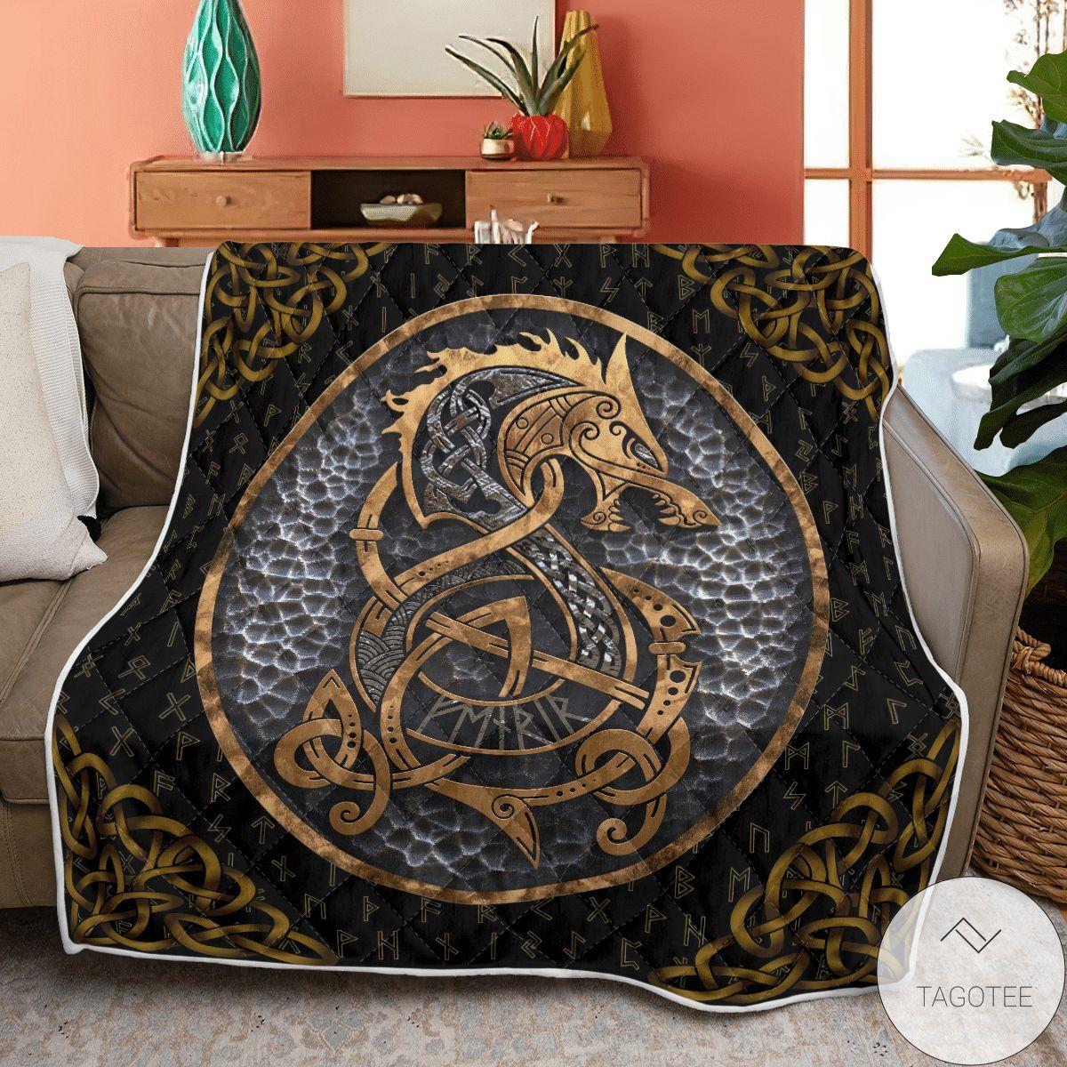 Viking Fenrir And Rune Viking Quilt