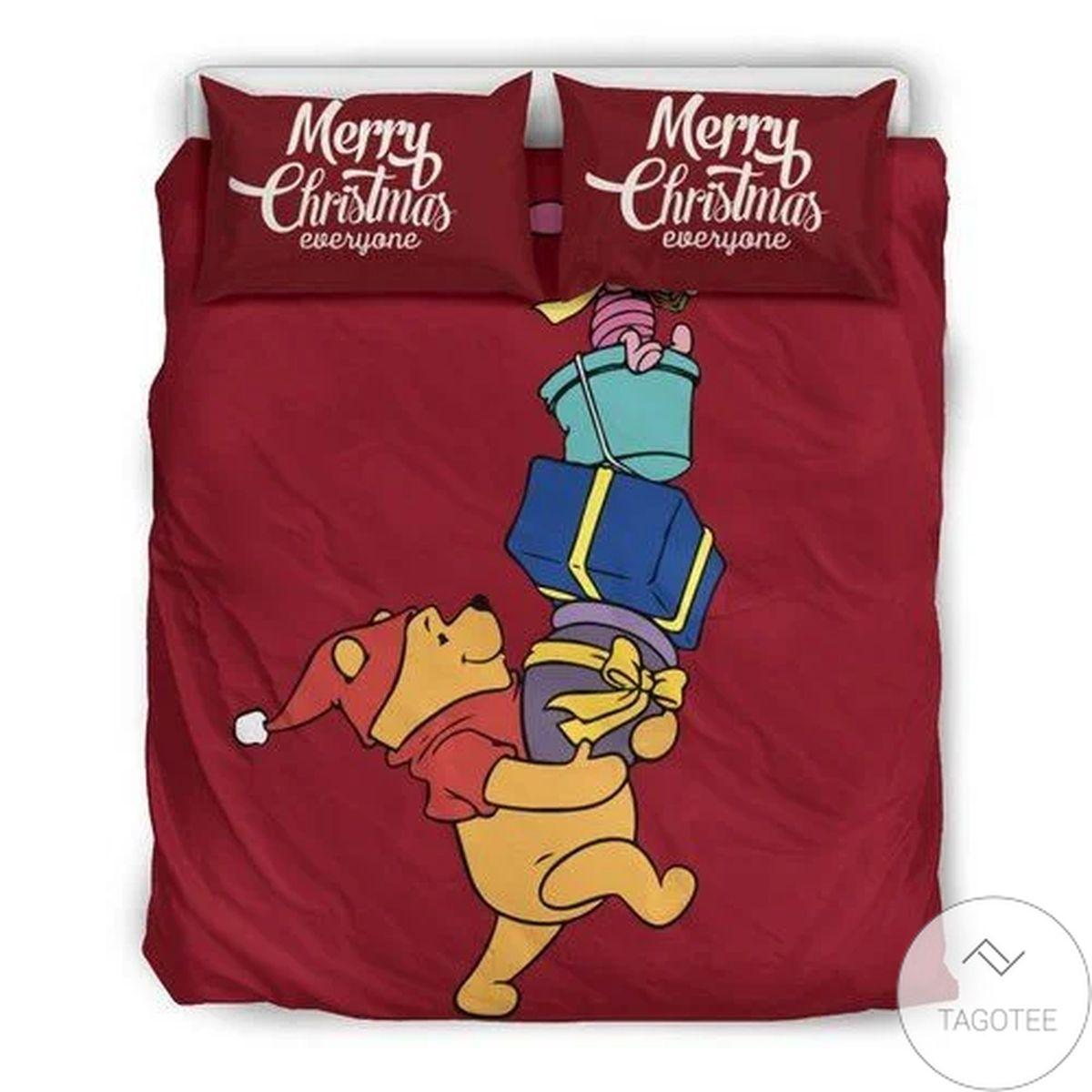 Winnie The Pooh Merry Christmas Everyone Bedding Set