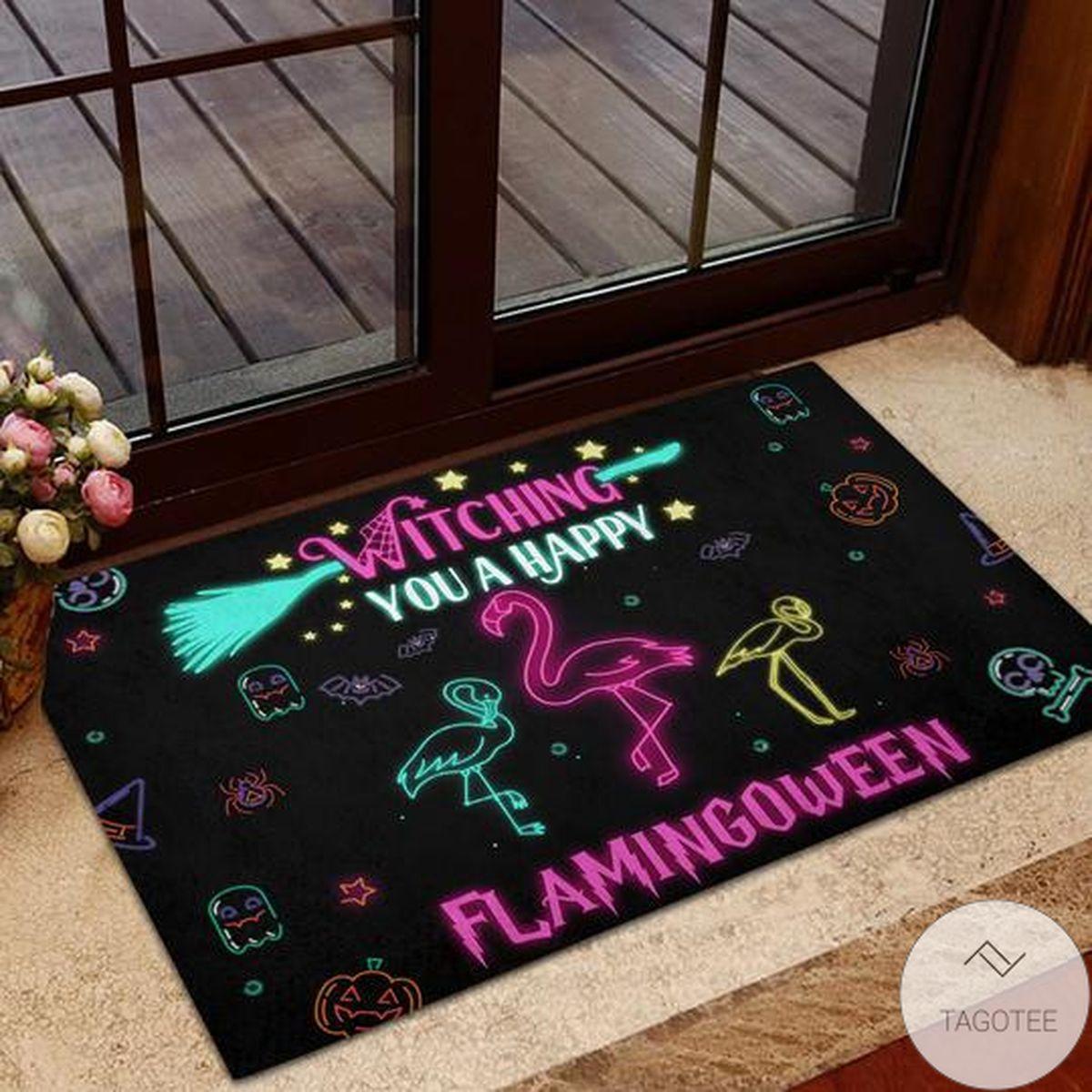 Witching You A Happy Flamingo Wine Doormat