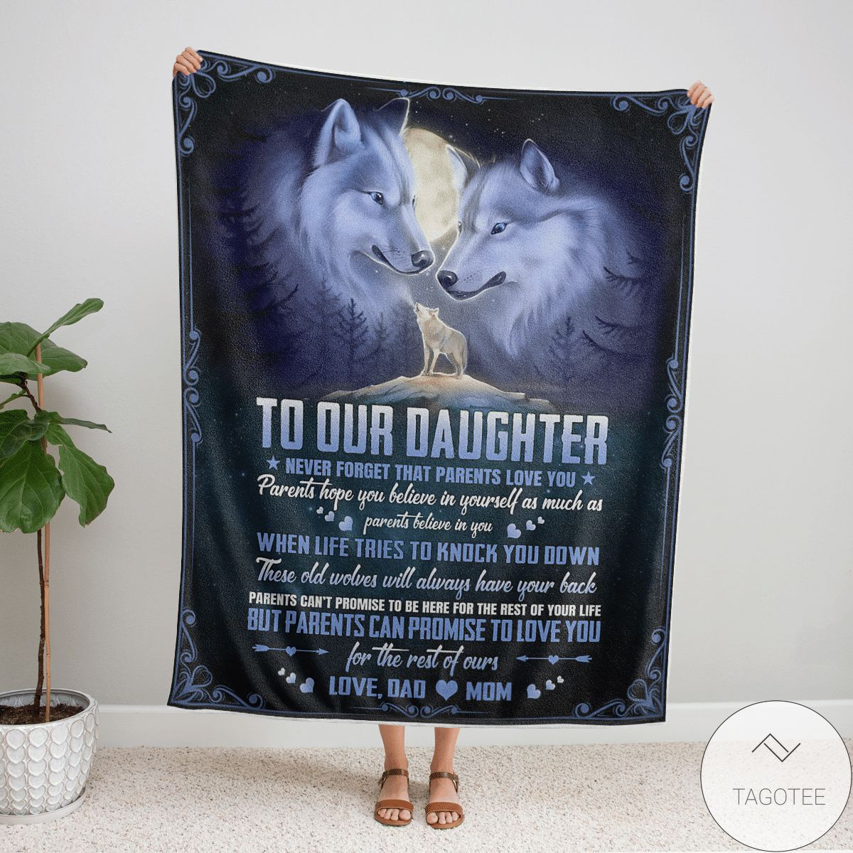 Wolf To Our Daughter Never Forget That Parents Love You Fleece Blanket