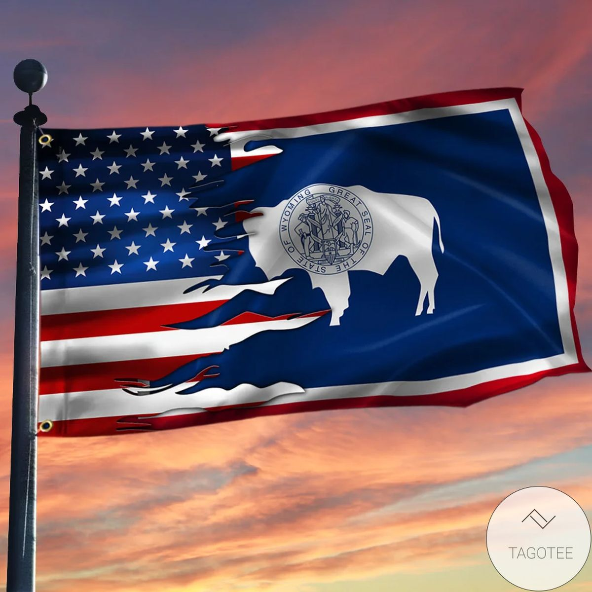 Wyoming And American Grommet Flag